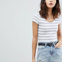 River Island Scoop Neck Stripe Body at asos.com