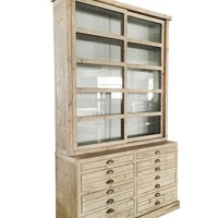 Alessa Gray Display Cabinet Hutch with Glass Sliding Doors
