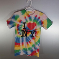 Adult Size Small I LOVE NEW YORK Tie Dye Graphic T-Shirt Tee Top Gift For Her Gift For Him Mens Tumblr Pride Bohemian Clothing Hippie Style