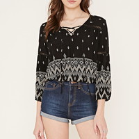 Tribal Print Lace-Up Top