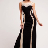 PRIMA 17-2277 Black Nude Prom Dress Evening Gown