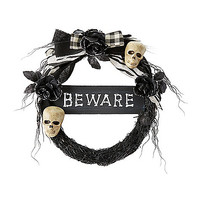 Beware Skull Wreath - Decorations - Spirithalloween.com