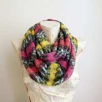 Colorful Infinity Scarf Loop Circle Hand Knit Scarf Shawl Women's Infinity Scarf, Multi Color Scarf