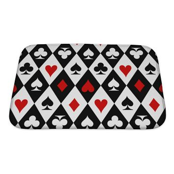 Bath Mat, Playing Cards Suit Symbols Pattern Design