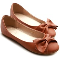 Ollio Women's Shoe Cute Ribbon Accent Ballet Flat