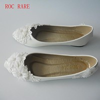 New White Lace Flowers Women Wedding Shoes Flat Heels Handmade lace White Bridal Shoes Bridesmaid Shoes banquet dress Size 34-44