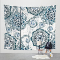 Navy Blue Floral Doodles on Wood Wall Tapestry by Micklyn