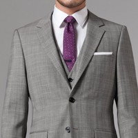 ESSENTIAL GRAY PRINCE OF WALES THREE-PIECE SUIT