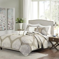 Mirella Tan Boho Medallion 6PC Coverlet Bed Set