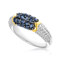 18K Yellow Gold & Sterling Silver Popcorn Motif Ring with Blue Sapphires: Size 7