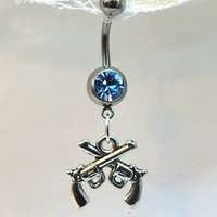 Belly button piercing ring with blue crystal and double pistol guns surgical steel 14ga