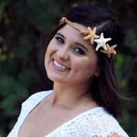 Leather Triple Starfish Headband - Created with 3 Real Starfish and REAL LEATHER