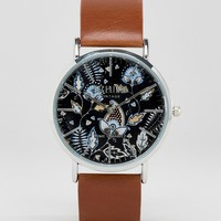 Reclaimed Vintage Paisley Leather Watch In Brown at asos.com