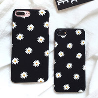 Ultra Thin Frosted Cute Daisy Flower Case For Iphone 7 Case Lovely Cartoon Floral Back Cover Hard Phone Cases For Iphone7 7 Plus