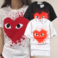 2016 Trending Fashion Red Sports Hoodies Round Necked Short Sleeve T-Shirt Top T-Shirt Top _ 10076