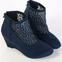 Navy Blue Hollow Crochet Wedges Ankle Boots