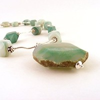 Green Stone Necklace and Earring Set with Agate Pendant, Gemstone Beads, and Sterling Silver