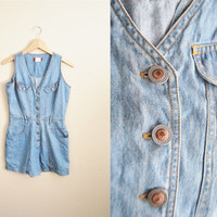 I Dream of Jeanie - Vintage 90s Denim Jean Romper Shorts Jumpsuit