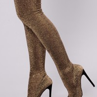 Born To Sparkle Over The Knee Boot - Gold