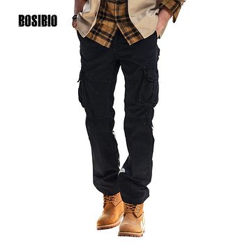 Mens Lightweight Loose Cargo Pants Cotton Military Pocket Pants 2017 New Design High Quality 5 Colors Size 29-38 FH3225