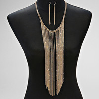 Gold Tassel Drop Fringe Statement Necklace