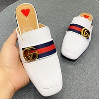 GUCCI New fashion stripe leather flip flop slippers shoes White