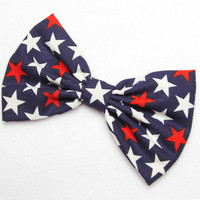 American Flag Bow 4th of July print Bow Flag hair bow red white blue USA bow Patriotic American Flag clip Bow Independence Day Bow Big Bow