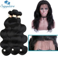 Sapphire Peruvian Hair Body Wave 3 Bundles With 360 Lace Frontal Closure Remy Human Hair With Lace Frontal Salon Hair Bundles