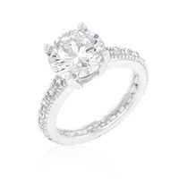 Micro-pave Cubic Zirconia Engagement Ring, size : 10