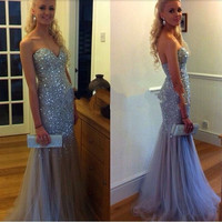 Vestidos De Festa Long Prom Dress 2017 Sweetheart Sleeveless Backless Sweep Train Tulle with Crystal 2016 Mermaid Formal Gowns