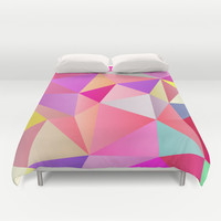 Pink Polygons Duvet Cover by House of Jennifer