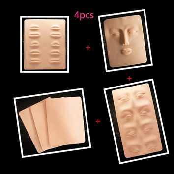 4 pcs 3D Tattoo Practice Skin  lip Eyes eyebrow practice skin for learner use permanent makeup practice skin