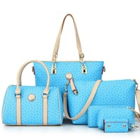 Stylish Bag Set Tote+Clutches+Wristlets+Wallet 6pcs[6582796103]