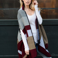 Colorblock Poncho Red Tan