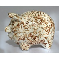 Vintage Figural Brown Transferware Chintz Staffordshire Money Box Pig Piggy Bank by James Kent