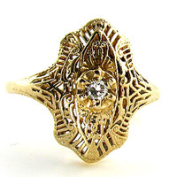 14K Art Deco Style Filigree Ring with Diamond in Yellow Gold