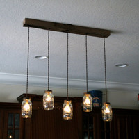 5 Light DIY Mason Jar Chandelier - Rustic Cedar