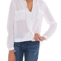 Get It Real Long Sleeve Blouse Top - White