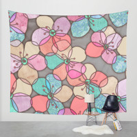 It's Always Summer Somewhere - bright poppy floral Wall Tapestry by Micklyn