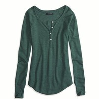 AEO FACTORY LONG SLEEVED HENLEY THERMAL