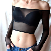 MESH CROP TOP Sexy Black Top Goth Off The Shoulder Top Coachella Tops Black Mesh Goth Crop Top Off The Shoulder Black Top
