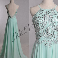 Long Mint Beaded Prom Dresses,Backless Evening Dresses,A Line Chiffon Party Dresses,Bridesmaid Dresses,Homecoming Dresses