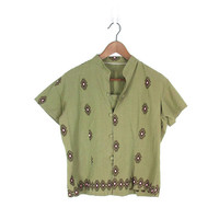 Vintage Embroidered Shirt -- Ethnic Cotton Top -- Short Sleeve Collarless Button Down Blouse -- Boho Shirt in Khaki Olive -- Womens  M / L