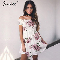 Simplee Side split off shoulder print short dress women High waist pleated summer dress Elegant boho dress vestidos