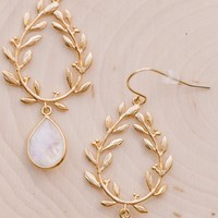Laurel Wreath Moonstone Earrings