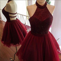 A Line Burgundy Halter Homecoming Dress, Beading Homecoming Dresses, Short Prom Dress