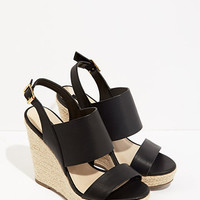 Faux Leather Wedge Espadrilles