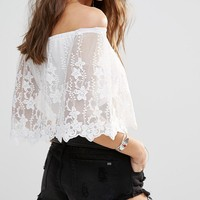 Young Bohemians Bandeau Top With Lace Off Shoulder Overlay