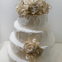 Ready to Ship! Burlap & Lace Rustic Cake Topper, natural burlap and lace, light champagne, coffee stained lace and twine.