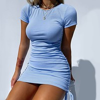 2020 Short sleeve dress with drawstring on both sides